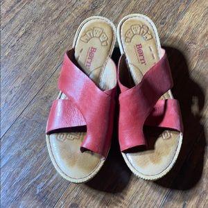 Born Shelene Solid Red Leather Platform Sandals
